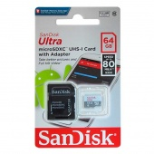 SanDisk Ultra microSDXC 64Gb, UHS-I Class 10, SD adapter
