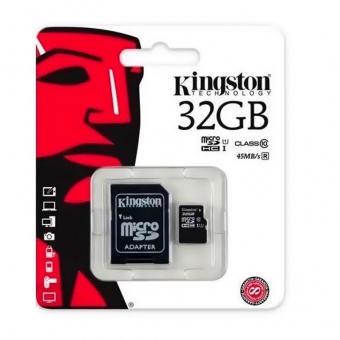 Карты памяти Kingston MicroSDHC 32Gb + adapter (10 класс)